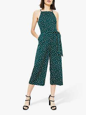 Ex Oasis Womens Ladies Jade Green Polka Dot Lace Back Detail Cropped Jumpsuit • 14.44£