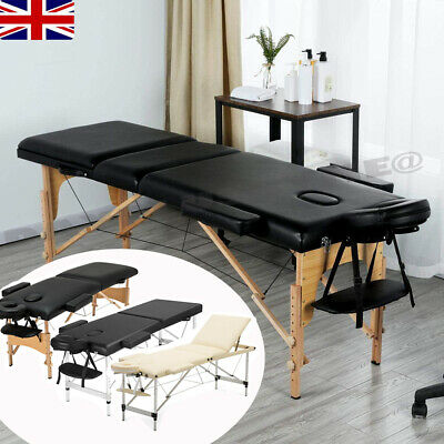 Portable Folding Massage Table Beauty Salon Tattoo Therapy Couch Bed Beige/Black • 65.99£