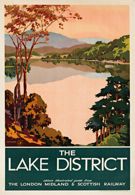 VINTAGE RAILWAY POSTER The Lake District Travel Ad Art Deco PRINT A3 A4 Green • 8.99£
