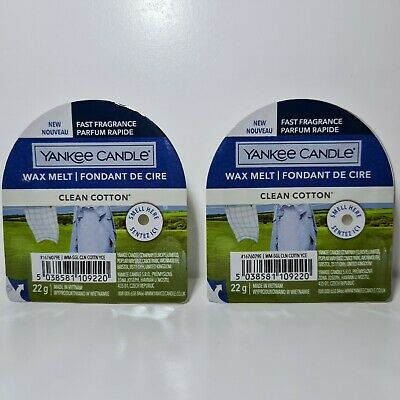 2 X Yankee Candle Wax Melts - Clean Cotton | NEW DESIGN | FREE P&P • 5.50£