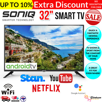 AU287.97 • Buy SONIQ Smart TV 32 Inch Android Television WiFi Netflix Streaming LED 32  VESA