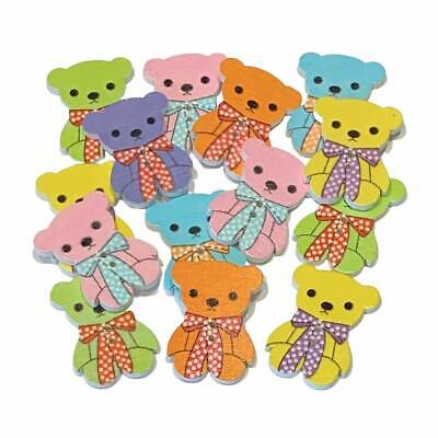 £2.79 • Buy 25 Large Wooden Teddy Bear Buttons - Mixed Random Colours - Craft  - Sew - Cards