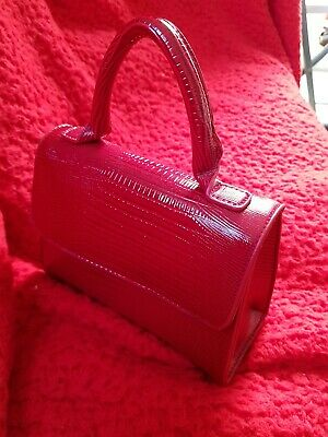 Ladies Primark Red Top Handle Mini Tote Mock Croc Bag. Comes With Longer Strap.  • 8.50£
