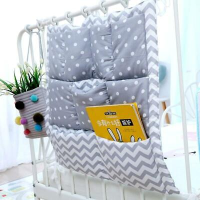 Bed Hanging Storage Bag Baby Cot Cotton Holder Organizer 50x50cm Diaper Pocket T • 7.75£