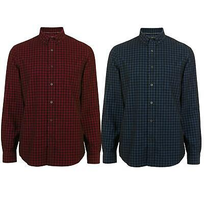 Ex M&S Marks And Spencer Mens Gingham Check Cotton Cord Shirt Burgundy Blue • 15.95£