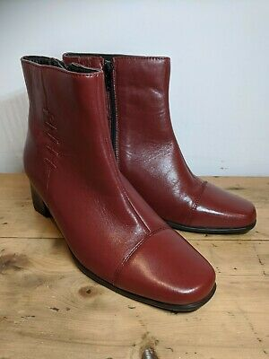 Womens Size 5 Red Leather Ankle Boots PAVERS BNWT RRP £74.99 • 39.99£