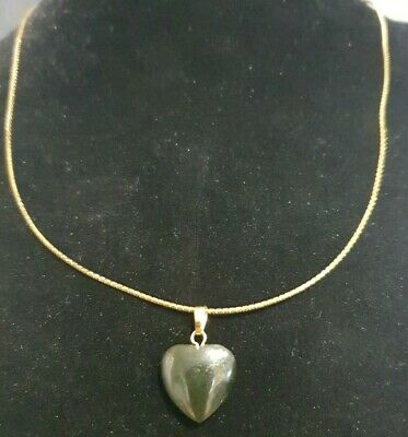 £1.50 • Buy Bnwot Black Glass Heart Pendant On 18  Gold Articulate Flat Snake Chain Necklace