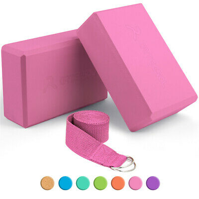 Arteesol 2PCS Yoga Block EVA Foam Home Pilates Balance Pink Yoga Brick + Strap • 9.79£