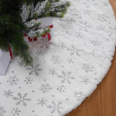 White Christmas Tree Skirt Base Faux Fur Xmas Floor Mat Ornaments Decoration • 5.99£