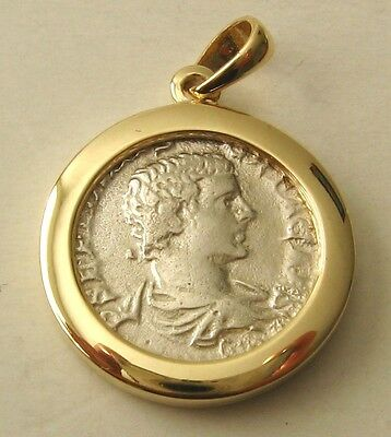 AU249 • Buy GENUINE 9K 9ct SOLID Gold FRAME ANCIENT SOLID SILVER ROMAN COIN Pendant