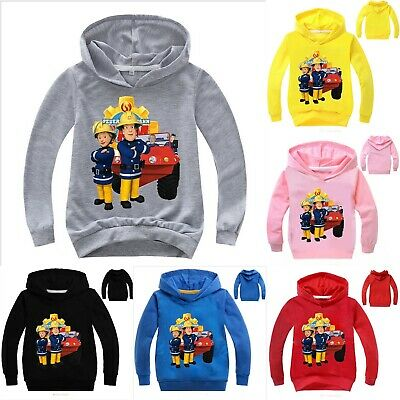 Boys Girls Fireman Sam Hooded Hoodie Long Sleeve Pullover Sweatshirt Jumper Tops • 8.29£