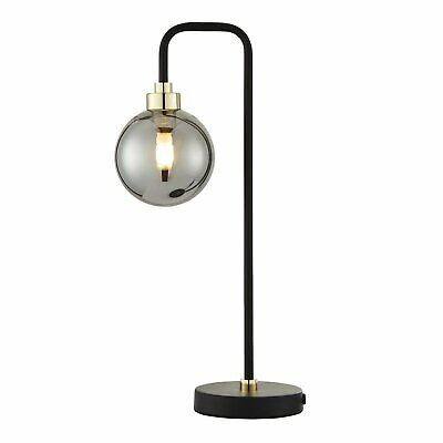 Modern Black With Brass Detail And Smoked Glass Table Lamp Bedside Light • 24.99£