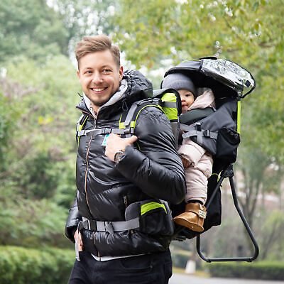Baby Backpack Carrier For Hiking With Ergonomic Hip Seat Detachable Rain Cover • 67.99£