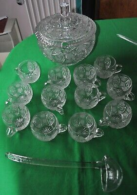 Vintage Cut Glass Punchbowl, 12 Glasses & Ladle, Could Be 1960s Or 1970s Glass • 35£
