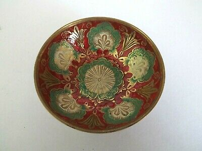 Indian Brass Hand Painted Enamelled Bowl  • 12£