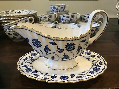 Spode Blue Colonel Gold Trim Gravy Boat And Underplate England  • 56.32£