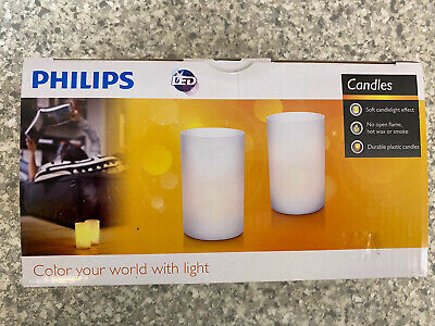 £14.99 • Buy Philips Plastic Rechargeable Candle Tea Light Set Of 2 Candlelight LED