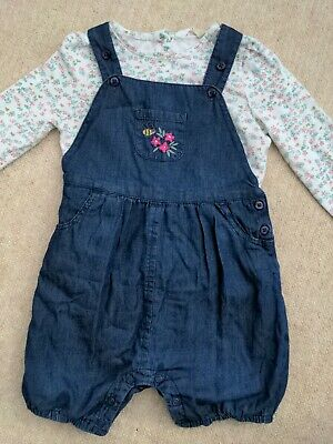 John Lewis 12-18 Months Girls Dungarees And Long Sleeve Top Set • 4.99£