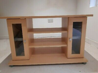 Tv Cabinet Wood. 4x Pull Out Dvd Draws With Glass Doors. Slight Stain On Rear. • 0.99£