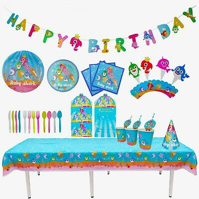 Baby Shark Birthday Decoration Table Cover Plates Balloon Straw Banner Cup Tissu • 2.99£
