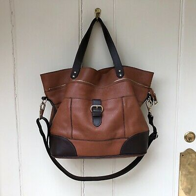 Womens Autograph M&S Messenger Bag Handbag Leather Brown Underarm Medium • 34.99£