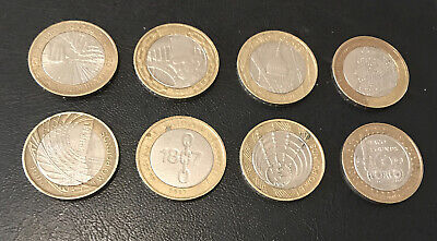 £2 Pound Job Lot, 8 Coins All Different. Circulated Coins A6 • 22£