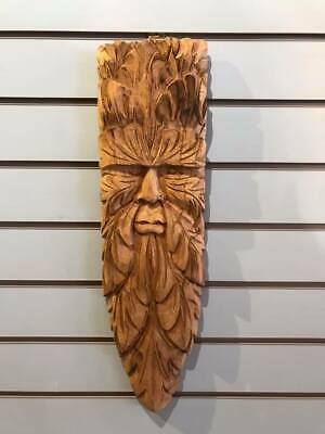 Green Man Flat 60cm Hand Carved Wizard Tree Trunk Wood Man Fairtrade  • 35£
