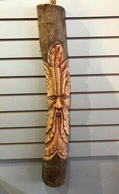Green Man Of The Woods 100cm Hand Carved Wizard Tree Trunk Wood Man Fairtrade  • 40£