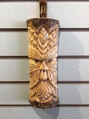 Green Man Of The Woods 30cm Hand Carved Wizard Tree Trunk Wood Man Fairtrade  • 15£