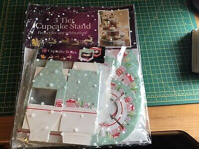3 Tier Cake Stand Cardboard - Plus 6 Cupcake Boxes. New & Sealed. • 4.99£