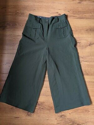 New Look Khaki Green Military High Waisted Flared Cropped Trousers Size 12 • 0.99£