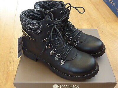 Ladies Womens Pavers Lace/Zip Up Ankle Boot Size 7 (eu40) Black NEW • 39.99£