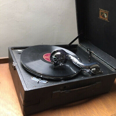 Vintage Portable 1930s HMV Gramophone Wind Up Record Player - His Masters Voice  • 41£