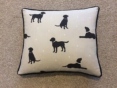 Black Labrador Piped Cushion In 'Rover' Fabric - Includes Feather Cushion Pad • 6.50£