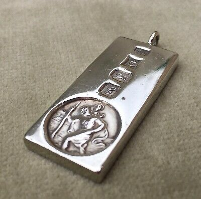Solid Silver Ingot Pendant With St Christopher 29.18g Birmingham 1981 • 53£