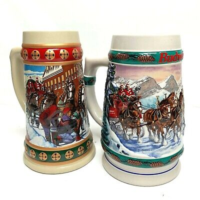 $ CDN26.17 • Buy Budweiser Beer Clydesdale Steins Lot Of 2 Holiday Collectible 1992, 1993 Xmas