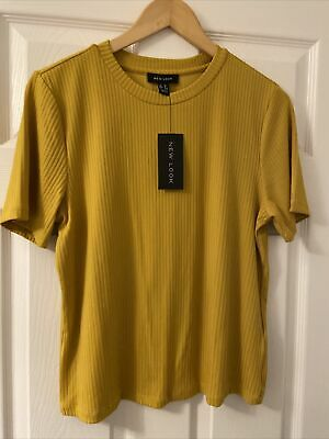 Ladies Size 12 Mustard Short Sleeve Top From Newlook Ribbed Effect BNWT • 2.32£