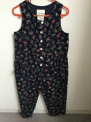 Laura Ashley Girls Dungarees Navy Blue And Flowers 4 Years • 3£