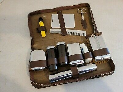 Vintage Mens Gents Vanity Grooming Travel Set In Brown Leather Zip Case Shaving • 3.50£
