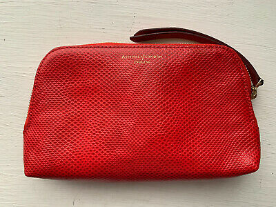 Aspinal Of London Cosmetic Bag In Red Lizard, Lined With Cream Silk • 39£