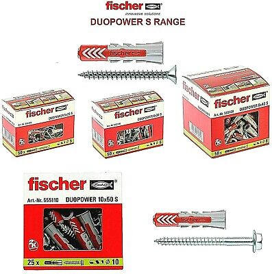 £6.95 • Buy FISCHER DUOPOWER S Universal Wall Plugs With Screws - 5MMx25MM To 14MMx70MM