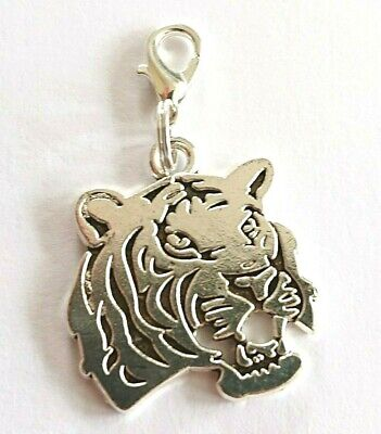 Tiger Charm Clip On Silver Tone Tiger Face Charm With A Clasp Ready To Clip On • 1.85£