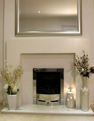 Fireplace Gas Coal Effect Chrome Legend Fire Modern White Marble Hearth & Back • 100£