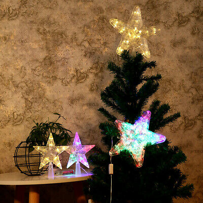Xmas Ornament Christmas Tree Topper LED Light Up Star Tree Home Party Decors • 4.79£