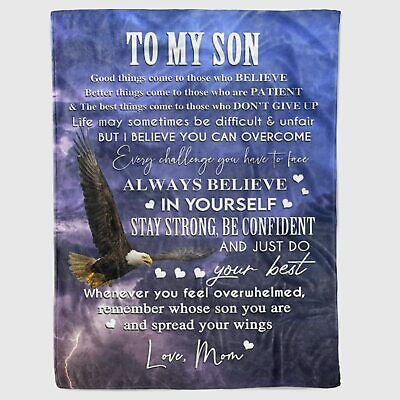 Personalized To My Son Eagles Blanket Birthday Holiday Graduation Wedding Gifts • 57.05£