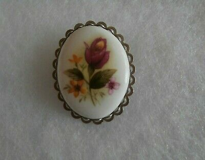 Vintage Silver Tone Oval Porcelain Brooch With Painted Flowers  • 3.50£