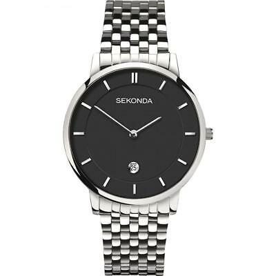 Sekonda Mens Slim Case Black Dial Bracelet Watch With Date Display - 1385.27 • 29.99£