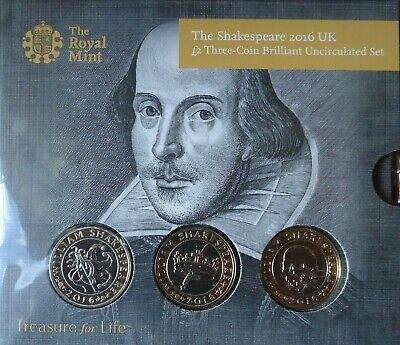 THE SHAKESPEARE UK £2 TWO POUNDS Three Coin Set 2016 Royal Mint BUNC Sealed • 36£