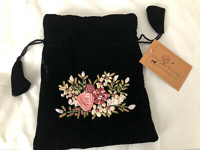 Black Velvet Appliqué Draw String Evening Bag, Lovely Detail • 5.90£