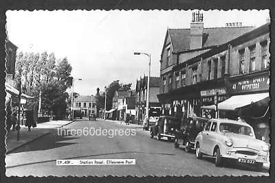 Vintage RP 1960s Cheshire Postcard: Station Road, Ellesmere Port. Shops, Cars • 4.50£